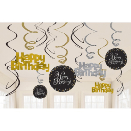 Glitterfeest Happy Birthday Hangende Swirls - 45 cm