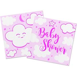 Roze Babyshower Meisje Servetten 25x25cm - 20 stuks