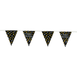 Vlaggenlijn Glossy Black 'Happy Birthday' - 4 meter