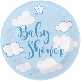Blauwe Babyshower Jongen Borden 18cm - 8 stuks