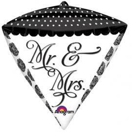 Folieballon Diamand Mr & Mrs - 43 cm