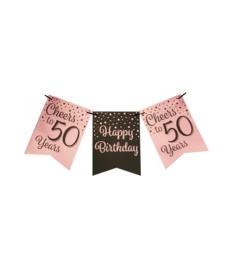Party flag banner rosé/black - 50