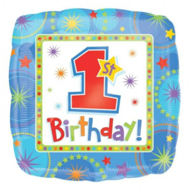Folieballon 1st Birthday Blauw - 43 cm
