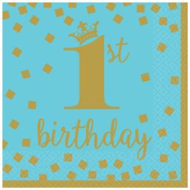 1e verjaardag jongen gouden lunchservetten  - 16 stuks