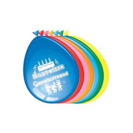 Ballonnen 'Hartelijk Gefeliciteerd' (Ø30cm,8st)