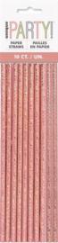 Papieren Rietjes Rosé Goud 10st