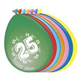 Latex Ballonnen 25 jaar 8 Stuks