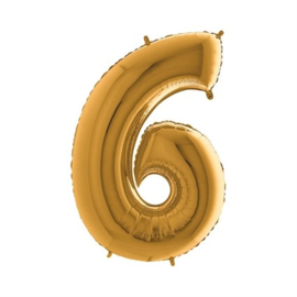 Cijfer 6 Goud 100 cm