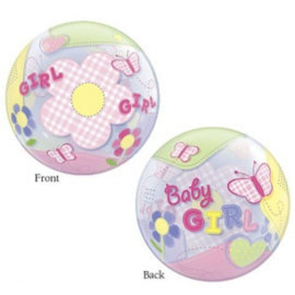 Folieballon Geboorte Baby Girl Bubble Butterflies 56 cm