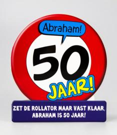 Wenskaart Abraham 50 Jaar Verkeersbord
