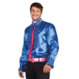 Ruches blouse koningsblauw