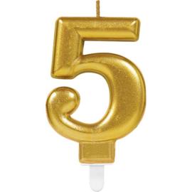 Verjaardag Kaars 5 jaar- Goud 7.5 cm
