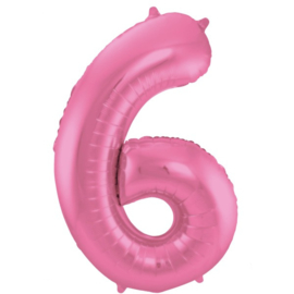 Cijfer 6 Roze Mat 86 cm