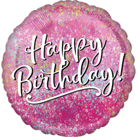 Folieballon Birthday Pink Fabulous - 46 cm