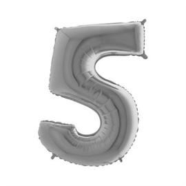 Cijfer 5 Zilver 100 cm