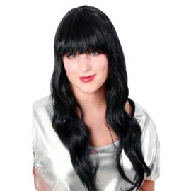 Pruik sensation zwart lang haar