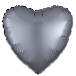 Folieballon hart satin grafiet (43cm)