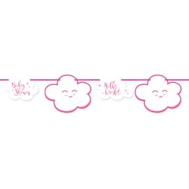 Roze Babyshower Meisje Slinger - 4 meter