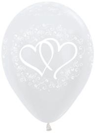 Ballon Verstrengelde harten Wit Metallic (1st)