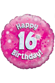 Folieballon Happy 16th Birthday - 45 cm