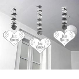 Hangdecoratie Just Married Harten - 3 stuks