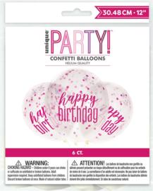 "Confetti ballonnen Glitz ""Happy Birthday"" - 6 stuks"