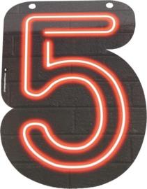 Neon Cijfer 5 - 24cm