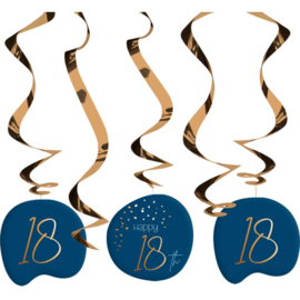 Hangdecoratie Elegant True Blue 18 Jaar - 5 stuks
