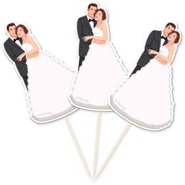 Prikkers Retro Bruidspaar Bruiloft - 10 st