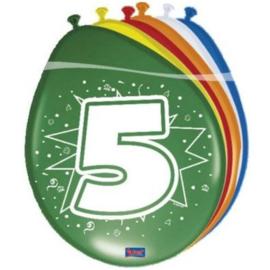 Latex Ballonnen 5 jaar ster  8 Stuks lucht