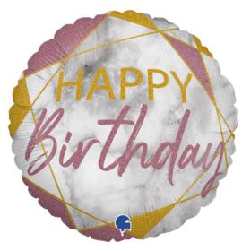 Folieballon Happy Birthday - Marble Rose Gold - 45 cm