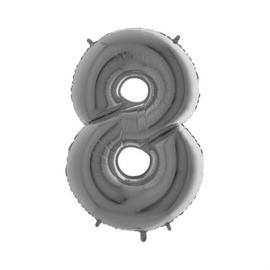 Cijfer 8 Zilver - 100 cm