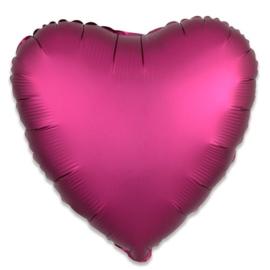 Folieballon hart satin granaatappel - 43 cm