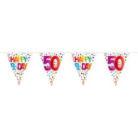 50 Jaar Happy Birday Stippen Vlaggenlijn - 10 meter