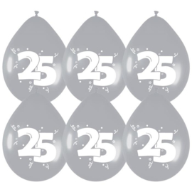 Ballonnen 25 Zilver 6 stuks 30 cm