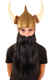 Baard met snor zwart steil haar