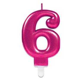 Verjaardag Kaars 6 jaar- Roze 7.5 cm