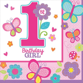 Servetten 1e verjaardag girl 16 stuks