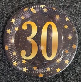 30 Jaar Party Gold Borden - 8 stuks