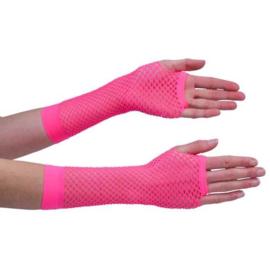 Nethandschoenen middel fluor pink