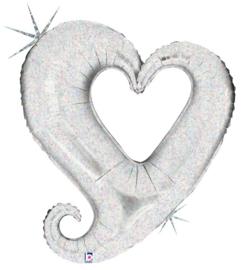 Folieballon chain of hearts silver - 94 cm