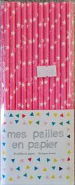 Rietjes roze met witte sterren - 25 stuks