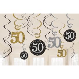 Glitterfeest 50 Jaar Hangende Swirls - 12 stuks