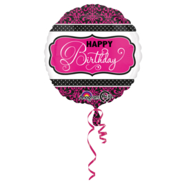Folieballon 'HBD' Pink & Black - 43 cm