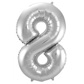 Cijfer 8 Zilver - 86 cm