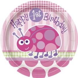 1e Verjaardag Lieveheersbeestje bordjes 8 stuks