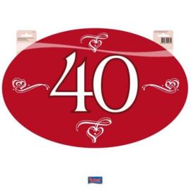 40 Jaar Jubileum Huldeschild Robijn Rood