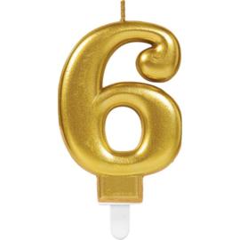 Verjaardag Kaars 6 jaar- Goud 7.5 cm