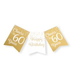 Party flag banner gold/white - 60
