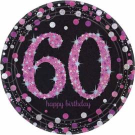 Bordjes sparkling pink '60' (Ø23cm, 8st)